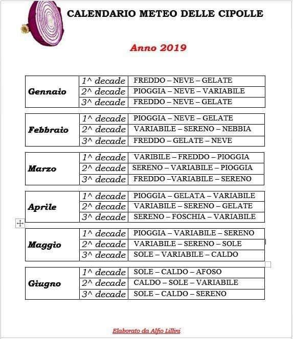 Calendario Cipolle 2019.Il Calendario Delle Cipolle Ecco Come Sara Il 2019